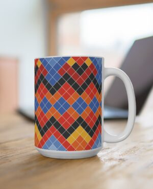 White big Size Mug with colorful pattern inspired by the Greenlandic National suit