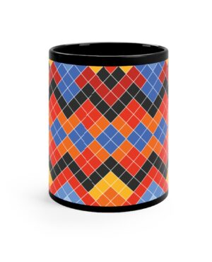 Black normal size mug with colorful pattern inspired by the Greenlandic National suit