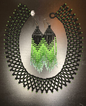 Green & Black Handmade Necklace and Earrings Set